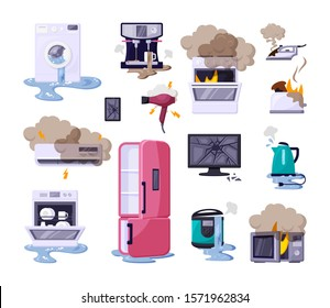 Broken home appliances flat vector illustrations set. Damaged refrigerator, iron, toaster, washing machine. Burning household electronics collection. Domestic equipment icons isolated on white