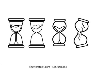 Broken hourglass icons on white background. Time illustration, modern outline illustration. Time is up.