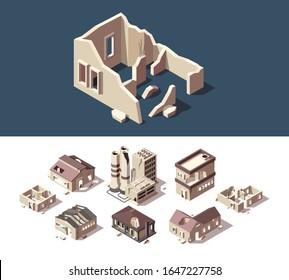 Broken houses. Isometric set of abandoned buildings real estate broken destroy windows ruins town vector set