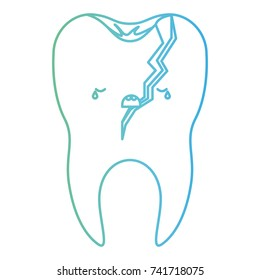 broken kawaii tooth with root in degraded green to blue color contour vector illustration