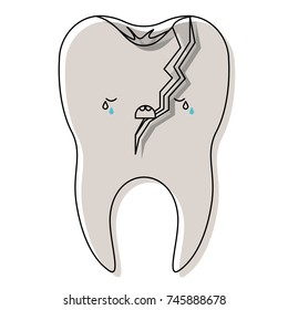broken kawaii tooth with root in watercolor silhouette vector illustration