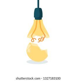 Broken lamp isolated on white background. Cracked glass. Break lightbulb. Vector illustration flat design. Fragile idea.