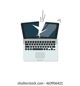 Broken laptop vector illustration isolated on white color background, crashed computer flat cartoon style