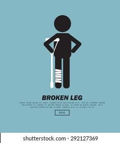 Broken Leg , vector illustration