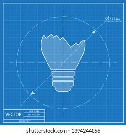 Broken light bulb vector blueprint icon