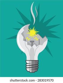 Broken lightbulb vector illustration