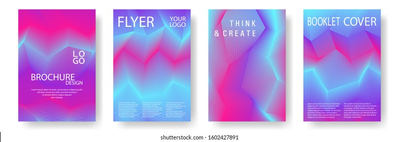 Broken lines gradient report cover templates vector set. Blue magenta violet gradient texture cover page layout templates set. Brochures graphic design, business booklet pages corporate layouts.