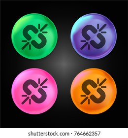 Broken link crystal ball design icon in green - blue - pink and orange.