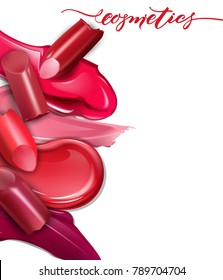 Broken lipsticks closeup and smears lipstick on white background. Cosmetics commercial, beautiful style. Exquisite smear, glamorous magazine, beauty concept.realistic mockup, vector illustration