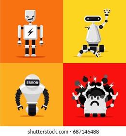 Broken mad robots set. Bad, errors and hacking programms. Flat style.