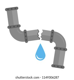 Broken metal pipe with leaking water, flat style vector illustration. Part of the pipeline.