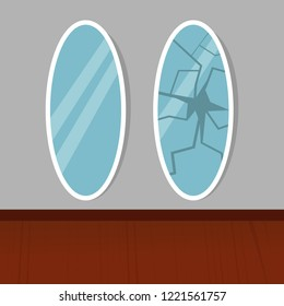 Broken mirror in the interior. Superstition illustration. New and damaged mirror set. Beaten miror icon isolated. Cartoon damaged mirror concept. Eps 10