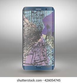 Broken mobile phone  on a gray background. vector illustration
