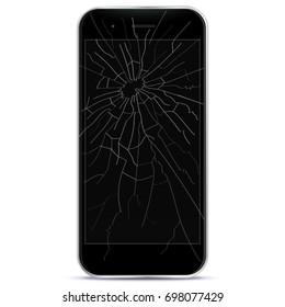 Broken Mobile Phone Vector Illustration