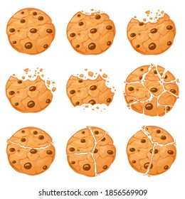 Broken oatmeal cookies. Cartoon bitten choco chip cookie with crumbs. Homemade chocolate round shaped crunch cookies. Sweet snack vector set. Illustration sweet tasty bakery, fresh delicious crunchy