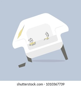 Broken old couch with holes, cut stuff and spring from the seat. White leather and broken wood leg armchair. Flat vector illustration isolated on the grey background.