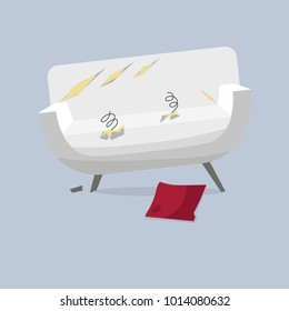 Broken old couch with holes, cut stuff and spring from the seat. White leather and broken wood leg sofa. Flat vector illustration isolated on the grey background.