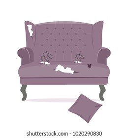 Broken old couch with holes, cut stuff and spring from the seat. Purple leather and wood legs of a sofa. Flat vector illustration isolated on the white background.