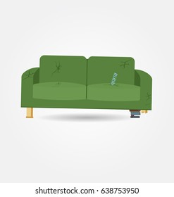 Broken old couch with holes and spring from the seat. Flat vector illustration.