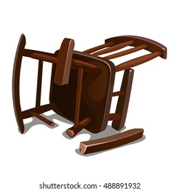 A broken old wooden chair isolated on white background. Vector illustration.