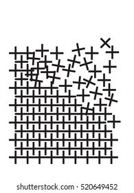 Broken pattern with crosses or pluses. Graphic interpretation of deconstruction and reconstruction. Black and white vector graphic. Distressed geometric texture.