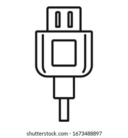 Broken phone cable icon. Outline broken phone cable vector icon for web design isolated on white background