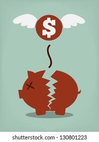 Broken Piggy Bank concept for financial crisis or economic depression
