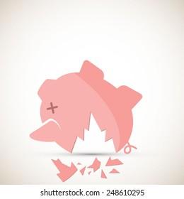 Broken piggy bank - EPS 10 vector
