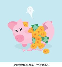 Broken Piggy Bank with Golden Coins