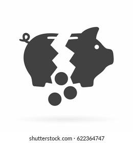 Broken piggy bank icon
