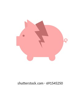 Broken piggy bank icon. Vector illustration isolated on white background