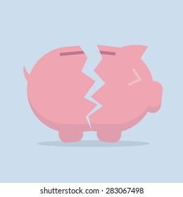 Broken Piggy bank vector flat icon , EPS10 vector illustration