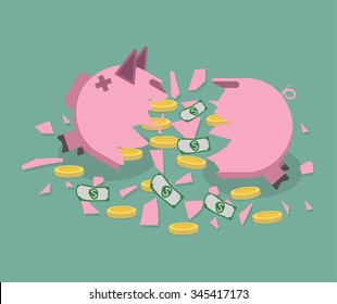 Broken pink Piggy bank with gold coins and dollar bills. vector illustration in flat designsaving money. Vector.