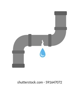 Broken pipe with leaking water, flat style vector illustration.