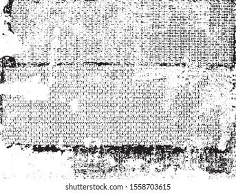 Broken plaster wall effect. Grunge worn damask pattern design. Distressed fabric texture. Overlay texture design. Vector illustration. Eps10.