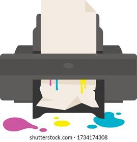 Broken printer.  Bad copier. Spilled paint. Defective copy machine. Ink up. Technical support. Warranty case. Fix problems. Office equipment service. Defective device. Refill cartridge. Soiled paper