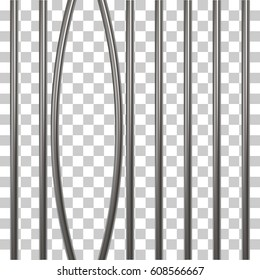 Broken prison bars isolated on transparent. Vector illustration. Way out to freedom concept