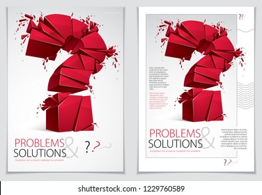 Broken Question Mark exploding brochure or flyer design, Query breaking to pieces, vector 3d realistic illustration. Special character conceptual symbol, doubt, difficulty, FAQ and support concept.