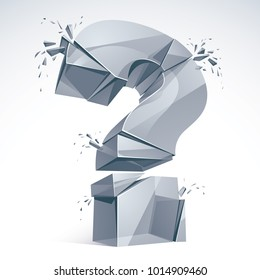 Broken Question Mark exploding, Query breaking to pieces, vector 3d realistic illustration. Special character conceptual symbol, doubt, difficulty, FAQ and support concept.