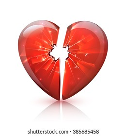 Broken red glossy plastic or glass heart symbol of love romance relations problems icon abstract vector illustration