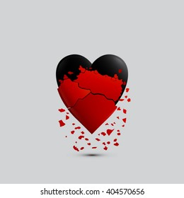 Broken red heart with black heart vector