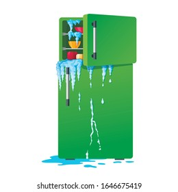 Broken refrigerator with opened freezer, melting ice and dripping water. Damaged fridge, old kitchen appliance with leakage or crash of defrosting system, Flat cartoon colorful vector illustration.
