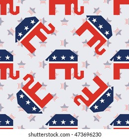 Broken republican elephants seamless pattern on american stars background. USA presidential elections patriotic wallpaper with broken republican elephants. Tiling pattern vector illustration.