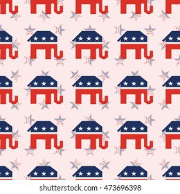 Broken republican elephants seamless pattern on national stars background. USA presidential elections patriotic wallpaper with broken republican elephants. Continuos pattern vector illustration.