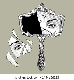 Broken retro mirror with a decorative frame and handle and eye reflection in the shards. Vintage engraving stylized drawing. Vector Illustration