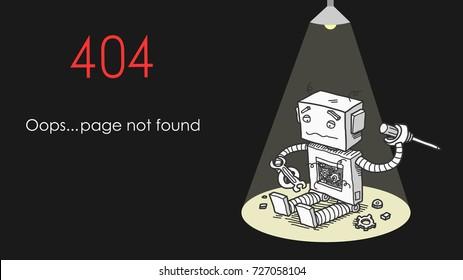 Broken Robot 404 Page Not Found Error, a hand drawn vector illustration of a website error message.