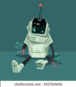 Broken robot character. Error web page concept. Vector flat cartoon illustration