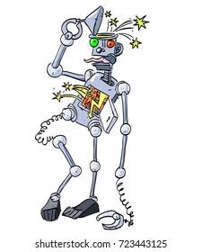 Broken robot falling apart cartoon image. Artistic freehand drawing.