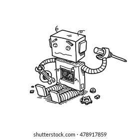 Broken Robot. A hand drawn vector doodle cartoon illustration of a broken robot trying to fix itself.