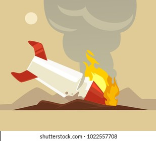 Broken rocket. Vector flat cartoon illustration